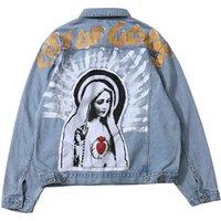 남성용 재킷 Kanye Denim Virgin Mary Trucker Jean Coat Hip Hop Lity 신의 신의 단추 5W45