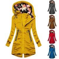 Women's Jackets Fashion Floral Print Jacket Zipper Pocket Outerwear Female Sweatshirt Long Sleeve Windbreaker Coat