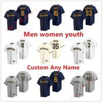 2021 Milwaukee Бейсбольная майки для бейсбола Мужчины Женские дети 22 Кристиан Елич Джош Хадер Вудром Луренцо Каин Райан Браун Brent Suter Arcia Arcia