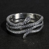 Cluster Rings 925 Sterling Silver Snake For Women Micro Paved Cubic Zircon Stones Vintage Punk Thai Jewelry