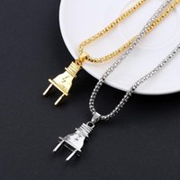 Pendant Necklaces 1Pcs Gold Silver Color Mens Women Electric Plug Socket Charm Necklace Hip Hop Stainless Steel Fashion Jewelry
