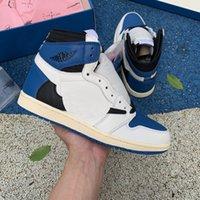 2021TOP Qualidade Jumpman 1 1S Sapatos de Basquete Alto TS OG Barb Obsidian Brown Blue Mens Mulheres Banned Criado Tee Clássicos Chicago Homens Mulheres Esporte Sneakers com caixa