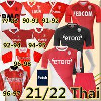 21/22 Monaco Collector's Soccer's Jerseys 1977/1982 94 95 96 97 Tuybens Retro 90 91 92 1999-2000 Vintage Dalger como Ben Yedder Jovetic Golovin flocagem Jorge Football Shirt