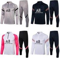 Paris 2021 2022 Yetişkin Seti Uzun Kollu Futbol Ceket Üniformaları Eşofman Messi Mbappé Sergio Ramos Formalar 21 22 Tren Futbol Ceket Eğitim Gömlek Suit Kitleri
