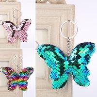 Fashion Beau porte-clés de voiture de papillon pour femmes hommes mignon porte-clés porte-clés paillettes paillettes porte-clés accessoires