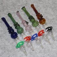 5.7 pulgadas Recolectores de néctar de vidrio para fumar Hookahs con 14 mm Nails de metal Tips de cuarzo KKECK CLIP Reclamer Nector Collector Kit