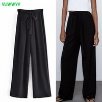 Pantaloni da donna Capris Vuwwyv Donne Black Wide Gamba BAGGY Donna Alta Vita Estate 2021 Pantaloni per joggers per la fascia elastica femminile