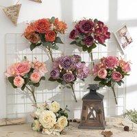 Decorative Flowers & Wreaths European Retro Hydrangea Peony Simulation Bouquet Artificial Flower Wedding Background Wall Decoration Holding