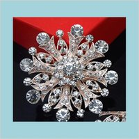 Pins jóia grande floco de neve Cristal de Cristal Broche Espumante Clear Áustria Cristais Flor Broche Atacado Festa Vestido Pin Rose Drop