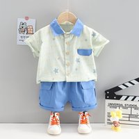 New Baby Boys Out Clothes Summer Children Print Stars Shirt Shorts Pants 2Pcs sets Infant Kids Fashion Toddler Tracksuits set X0401