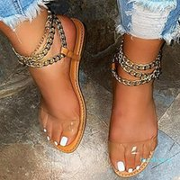 Summer Women Sandals 2021 Transparent Flat Sandals Shoes Gladiator Ladies Chain Open Toe Outdoor Sandalia Feminina