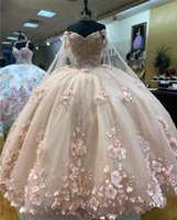 Fabulous Pink Quinceanera Dresses Cinderella With Wraps Floral 3D Flowers Applique Pearls Lace-up Ball Gown Sweet 16 15 Girl