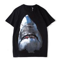 유명한 디자이너 남자 티 유럽과 미국의 조수 브랜드 3D 인쇄 큰 상어 순수 코튼 반팔 여름 검은 S-XXL 크기