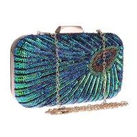Frauen luxurys designer taschen 2021 handtasche funkly pfau muster diamant kristall perlen kupplung strass abend umhängetasche glänzende geldbörse für partyhochzeit