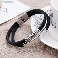 Punk Style Silver Stainless Steel Charm Beads Silicone Bracelets With Custom Logo