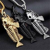 Encantos de pesca gancho pingente colares de aço inoxidável peixe oco esqueleto colar de osso moda cadeias de jóias
