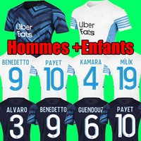 Marseille soccer jerseys Olympique De 21 22 OM 2021 2022 maillot foot CUISANCE THAUVIN BENEDETTO KAMARA PAYET football shirts men and kids sets uniform