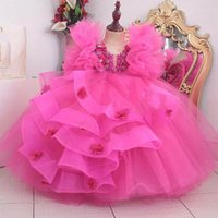 Girl's Dresses Kids Formal Wear Wedding Party Events Applique Beaded Girls Pageant Tulle A Line Flower Birthday Christmas Gown