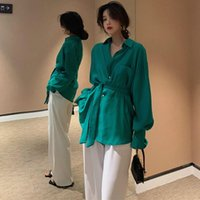 Women Temperamental Fashion Loose Lace Up Blouse Shirt 2021 Spring Autumn Elegant Tunic Long Sleeve Peplum Tops Women's Blouses & Shirts