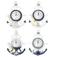 Wall Clocks Boat Anchor Clock Mediterranean Style Hanging Ornament For Home (Sailboat Style)