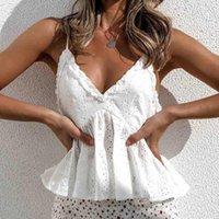 Blusas femininas camisas Zessam ilhó de algodão blusa mulheres em v-pescoço plissado womens tops e casual verão estilo praia bonito mais tamanho 2021 boho