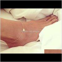 Anklets Girl Fashion Semplice cuore Braccialetto Braccialetto Catena Beach Foot Sandalo Gioielli C00021 SMAD 518 T2 Y7WRZ RYXGF