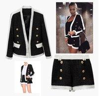 Mode-stijl Topkwaliteit Originele Design Dames Lurex Coat Jacket Two-Pieces Set Dames Classic Metal Gesp Double-Breasted Tweed met Shorts