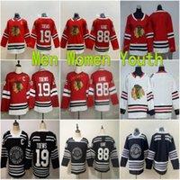 2021 Donne Gioventù Patrick Kane Jerseys 88 Chicago Blackhawks Blank Ice Hockey Donna Jonathan Toews Maglie 19 Red Team Color Black Bambini