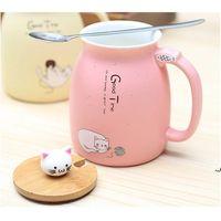 Caneca de gato de cerâmica dos desenhos animados com tampa e colher café leite chá canecas Café da manhã copo drinkware novidade presentes mar navio ahe6012