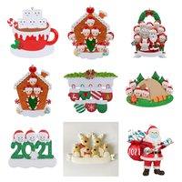 Festive noël ornements décorations quarantaine survivant de survivant ornement de résine jouets créatifs cadeau arbre décor masque masque bonhomme de neige sanitisé famille