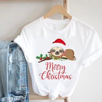 Damska koszulka Wesołych Świąt Kobiet Sloth Cut Zwierząt Wakacje Happy Year Ubrania Cartoon Tshirt Drukuj Top Kobiece Koszulki Koszulki Tee