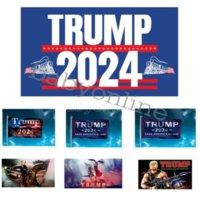 トランプ2024フラッグ米国大統領選挙国旗キャンペーンバナーデジタル印刷サポートバナーフラッグガーデンヤード背景3 * 5フィート