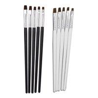 Nail Art Kitleri 5 adet / takım Profesyonel Güzellik Salonu Akrilik UV Jel Kalem Süsleyen Detaylandırma Düz Fırça Kiti Araçları