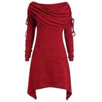 Women's Hoodies & Sweatshirts Plus Size Women Top Fashion Solid Ruched Long Foldover Collar Tunic Tops Roupas Femininas Com Frete Gratis #Y1