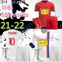 21 22 maillot ليون لكرة القدم الفانيلة الاطفال كيت + الجوارب 2021 2022 أولمبيك ليونيس جيرسي مايوه دي القدم رأ لكرة القدم قمصان تراوري ممفيس الرجال أطقم تايلاند