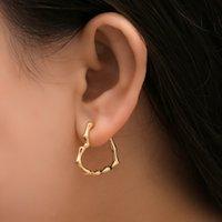 Coréia Moda amor coração bambu pequenos brincos de aro para mulher na moda cor de ouro geométrico metal brinco fino jóias
