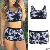 Sexy Frauen Crop Tops Hohe Taille Shorts Blumendruck Bikini Set Strand Badebekleidung Badeanzug