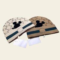Carino cartone animato topo stampato beanie uomo donne inverno cranio tappi designer caldo maglia tappo regalo di compleanno