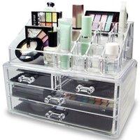 メイクアップオーガナイザー、4つの引き出しが付いている化粧品収納ボックス、アクリル、口紅の宝石と化粧ブラシ、ドレッサー、バスルームのカウンタートップ