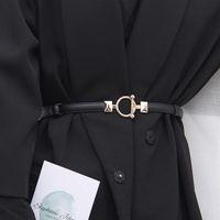 Женская кожаная талия ремень металлов украшения бренд крючок пряжки регулируемый тонкий ремешок для брюк платье простые дизайнерские пояс ремней