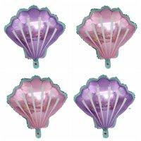Princesa Crown Shell Folha Balloons Rosa Festa Azul Fontes Casamento Bebê Decoração Decoração Crianças Balão de Aniversário FWB8717