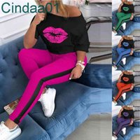 Women Tracksuit Two Pieces Set Designer Letters Printed Lip Mid Side Webbing Long Sleeve Pants Crew Neck Sports Suits Sportwear Outfits