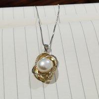 Meibapj 11-12mm Trendy Echt Natürliche Süßwasser Perle Blatt Anhänger Halskette 925 Sterling Silber Feine Partei Schmuck für Frauen