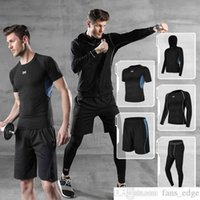 Fitness Clothes Mens Man Suit Sports Quick-Drying Top Tight Training Wear Night Morning Running Basketball Suit Summer Gym