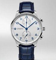 Relógios clássicos cronógrafo homens assistir portidieser safira prata preto azul couro esporte branco
