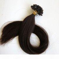 최고 품질 100g 100strands 미리 본딩 네일 U 팁 헤어 익스텐션 인간의 머리카락 18 20 24inch # 2 가장 어두운 갈색 브라질 인도 머리카락