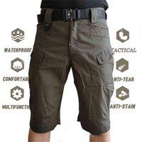 S-5xl homens clássico ao ar livre à prova d'água de caminhada de pesca shorts militares multi-bolso tático shorts de carga homens sem cinto 210330