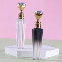 Botellas de almacenamiento Frascos 5 / 10pcs 3ml Diamante Clear plástico Lip Blloss Tubo vacío Cosmético Contenedor Gradiente Negro Lápiz labial Relleno Recuperable
