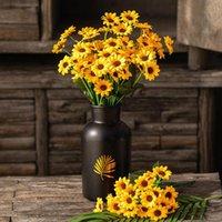 Декоративные цветы венки искусственные подсолнечники поддельных цветок 20 головы шелководства DIY букет свадьба праздник праздник украшения дома