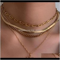 & Pendants Jewelrywomen Punk Multilayer Flat Snake Bone Chocker Necklace Hip Hop Rock Gold Chain Angel Choker Necklaces Female Gifts Jewelry